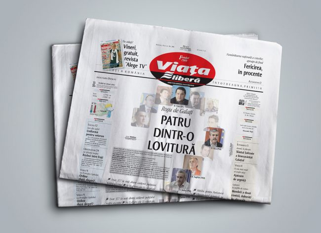 Viata Libera, front page winner design at European Newspaper Awards