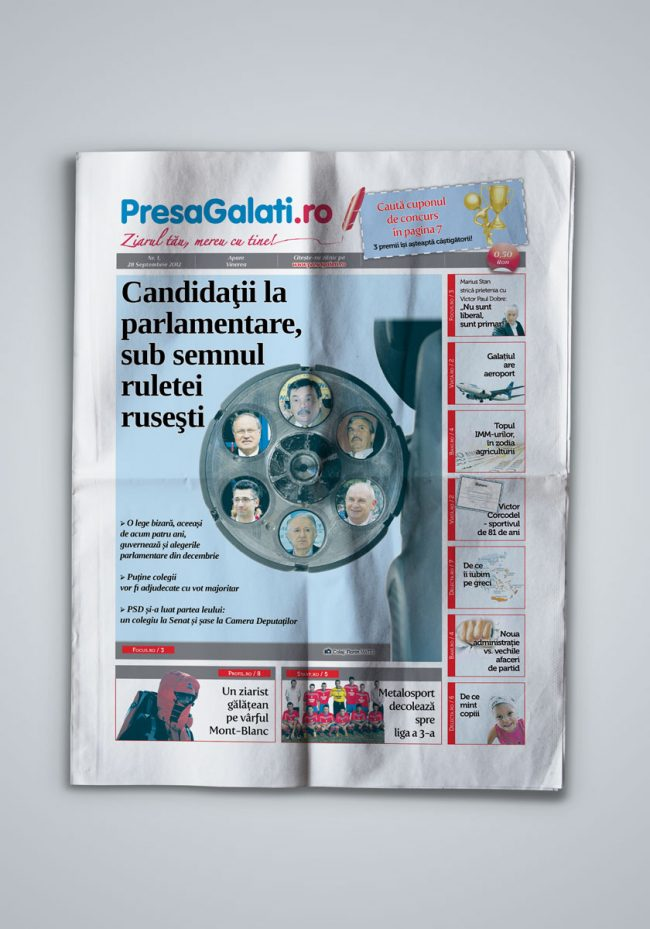 Presa Galati, weekly newspaper concept and design - first page showcase