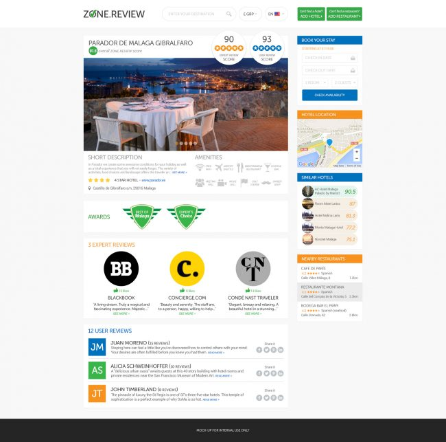 Zone.review affliate website network concept and design