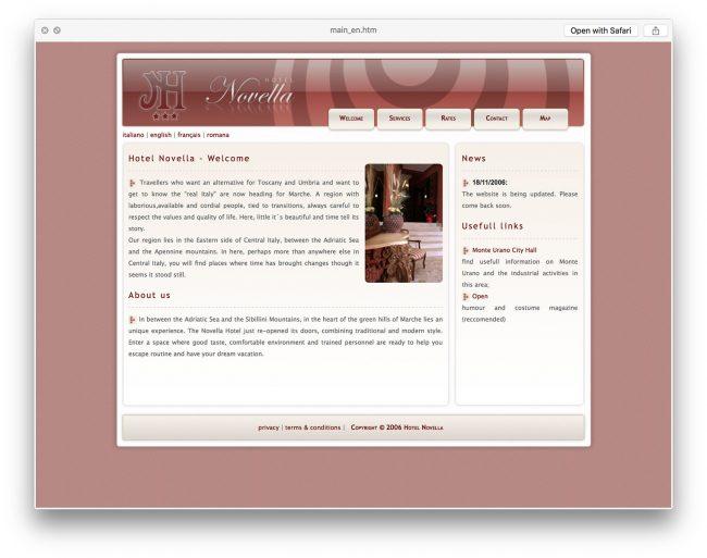 Novella Hotel website concept and design