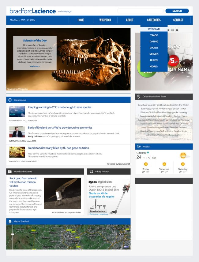 .Science affliate website network concept and design