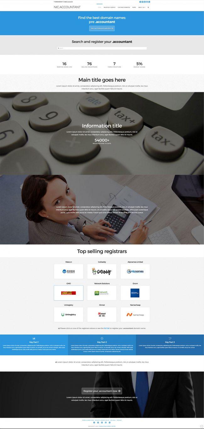 Nic.accountant website concept and design (Wordpress platform)