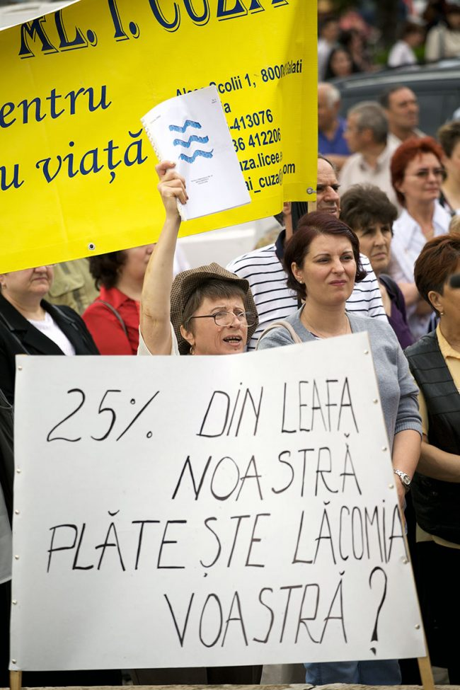 Various people are participating in a protest agains government austerity measures in Galați, Romania on June 1st, 2010.