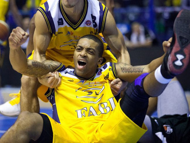 A basketball player from Sutor Montegranaro (IT) is celebrating in a match against Pepsi Caserta (IT) in Porto San Giorgio, Italy on December 18th, 2010.