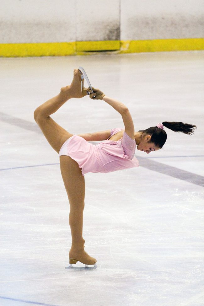 An artistic skater is performing her free skating program during the Crystal Skate competition in Galați, Romania on November 15th, 2008.