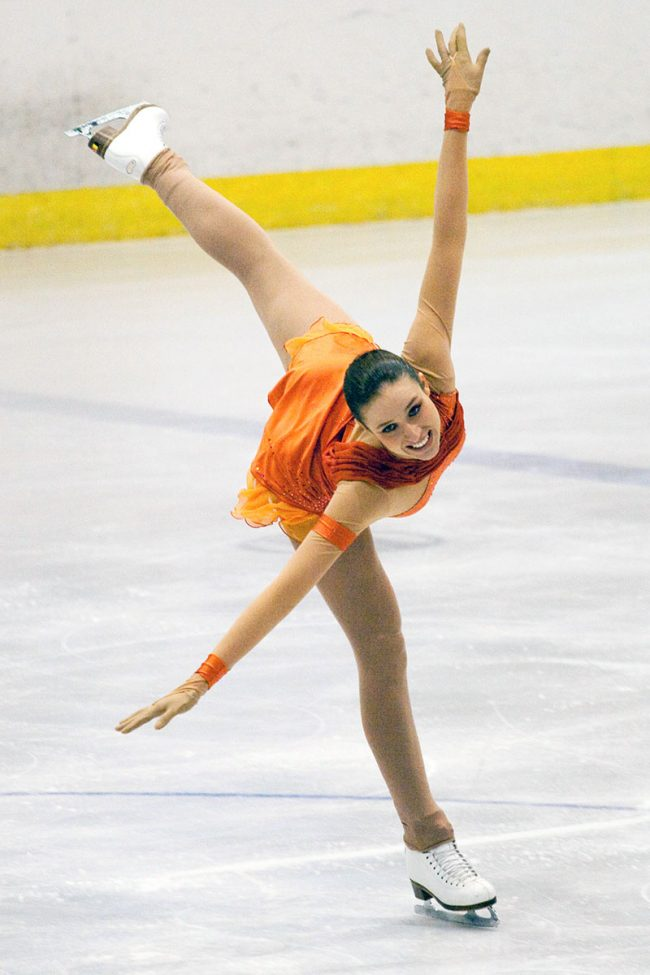 Isabelle Pieman from Belgium is performing her free skating program during the Crystal Skate competition in Galați, Romania on November 15th, 2008.