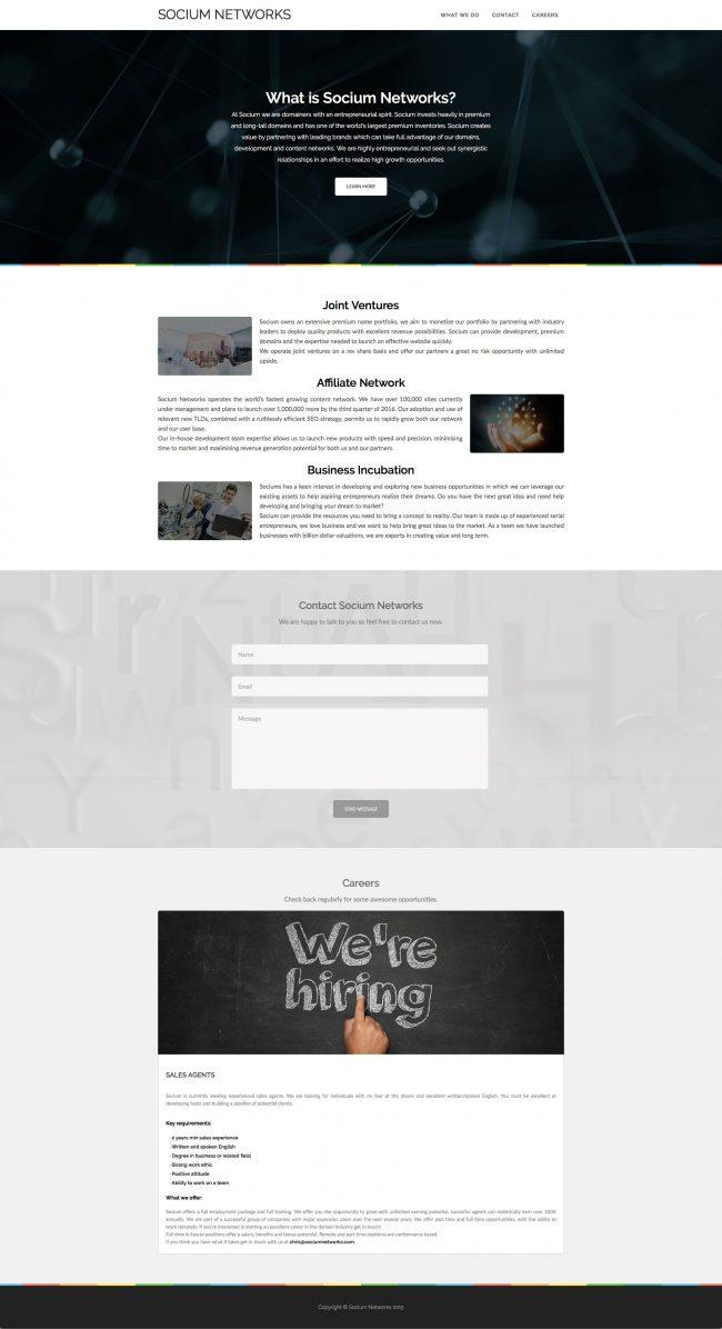 Socium Networks presentation website (live)