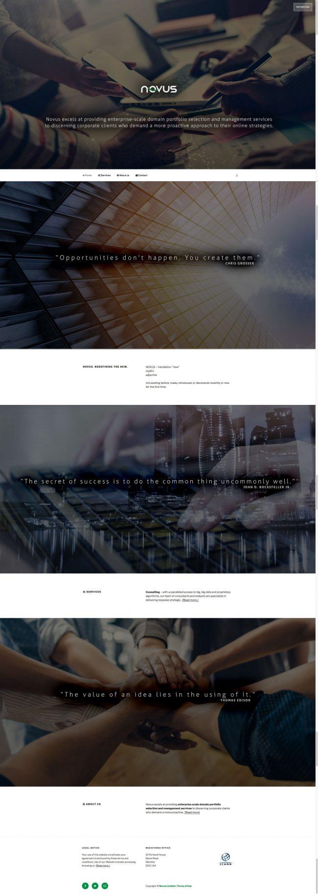 Novus Domains website concept and design (Wordpress platform)
