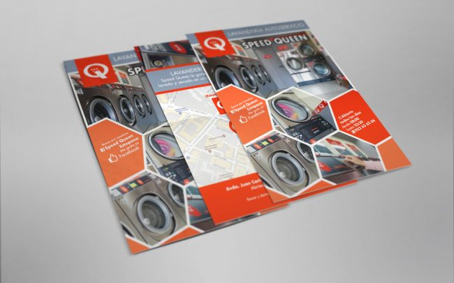 Flyer for Speed Queen Estepona, self-service washing and drying.