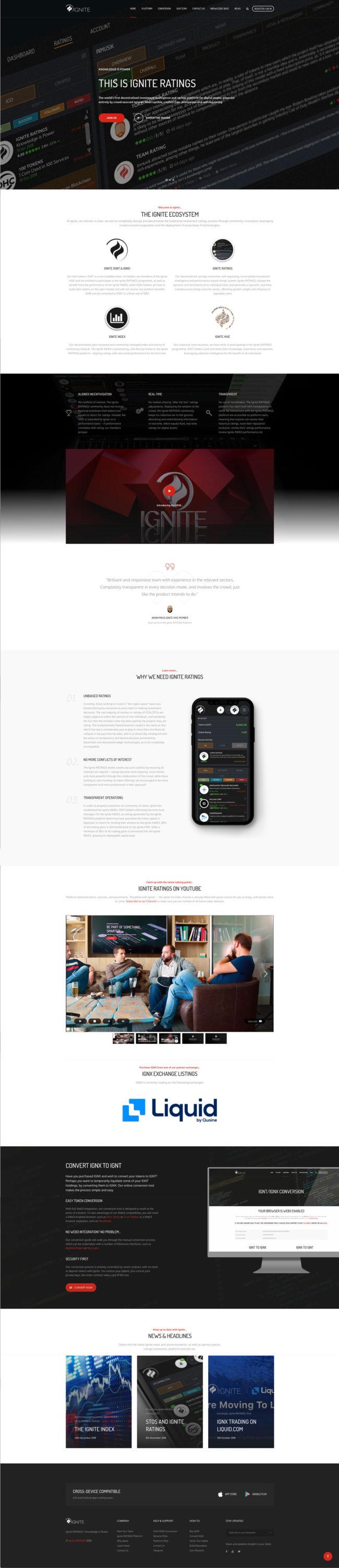 Ignite Ratings website UI design