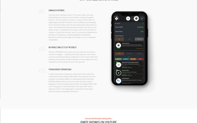 Ignite Ratings website UI design